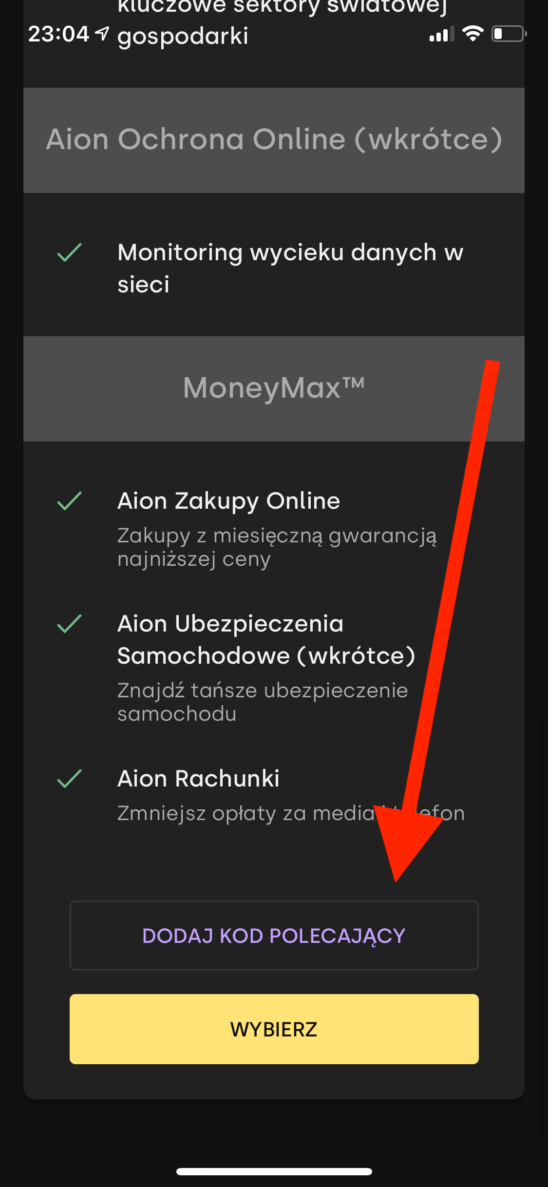 Aion Bank - kod polecający